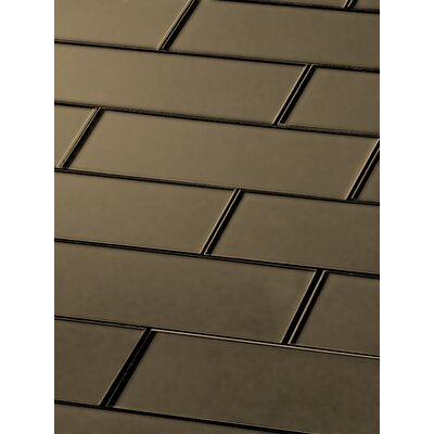 Secret Dimensions 3 x 12 Glass Subway Tile in Frosted Bronze