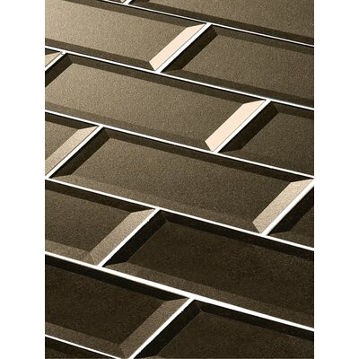 Secret Dimensions 3 x 12 Glass Subway Tile in Glossy Bronze