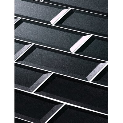 Secret Dimensions 3 x 12 Glass Subway Tile in Glossy Dark Gray