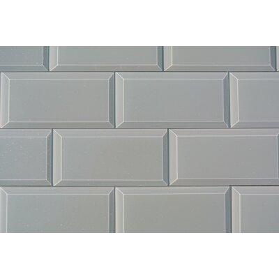 Frosted Elegance Joey 3 x 6 Glass Subway Tile in Glossy Gray