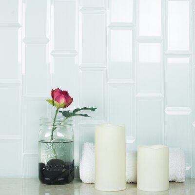 Frosted Elegance 3 x 12 Glass Subway Tile in Glossy Arctic