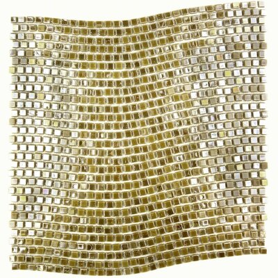 Galaxy Wavy 0.31 x 0.31 Glass Mosaic Tile in Glazed Brushed gold