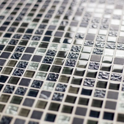 Quartz 0.63 x 0.63 Glass and Stone Mosaic Tile in Navy Blue