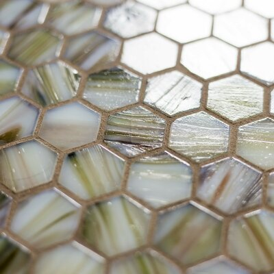Hexagon 11.33 x 10.75 Glass Mosaic Tile in Beige Mix