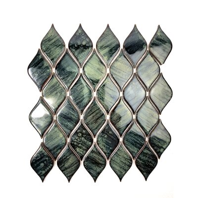 Monet Tiffany Lantern 12 x 12 Porcelain Tile in Dark Green/Spring