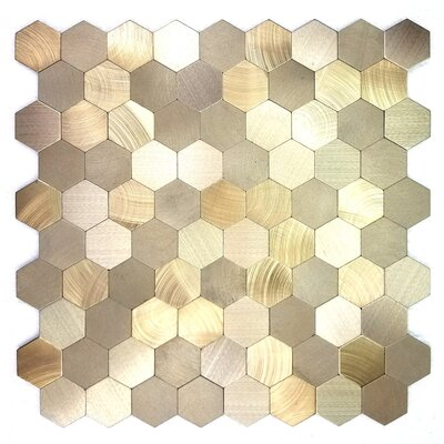 Enchanting Hexagon Wall Backsplash 12 x 12 Peel and Stick Metal Mosaic Tile in Gold