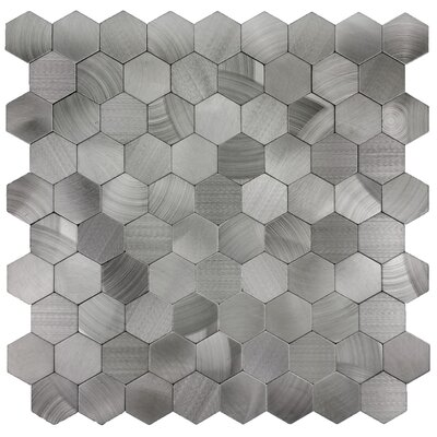 Enchanting Hexagon Wall Backsplash 12 x 12 Peel and Stick Metal Mosaic Tile in Silver