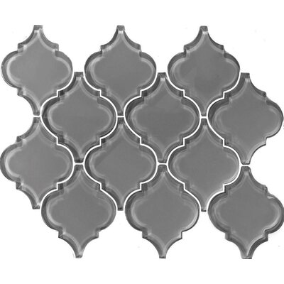 Metro Big Lantern Arabesque 15.63 x 12.25 Glass Subway Tile in Gray