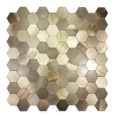 Enchanting Hexagon 1.5 x 1.5 Metal Mosaic Tile in Copper