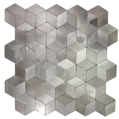Enchanting Kaleido Wall Backsplash 12 x 12 Peel and Stick Metal Mosaic Tile in Silver