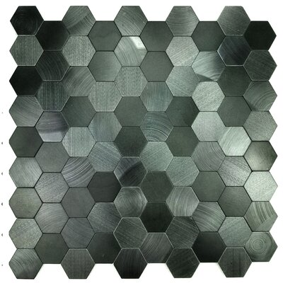 Enchanting Hexagon Wall Backsplash 12 x 12 Peel and Stick Metal Mosaic Tile in Blue