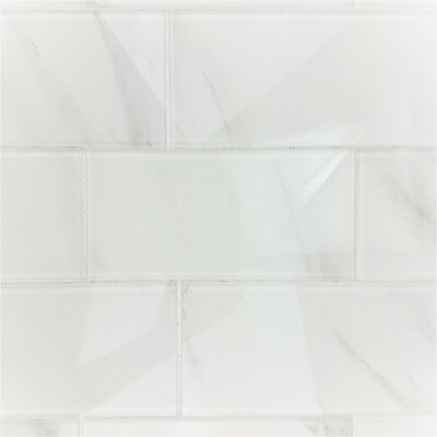 Nature Wall Backsplash Straight Edge 4 x 8 Glass Subway Tile in Calacatta White