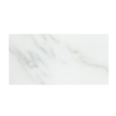 Nature Straight Edge 4 x 8 Glass Subway Backsplash Tile in Calacatta White/Gold