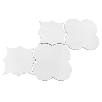 Thin Porcelain Big Bang Wall Backsplash 15 x 9 Metal Mosaic Tile in White