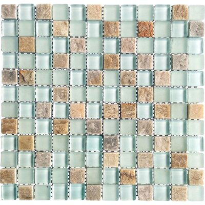 Mineral 1 x 1 Glass and Slate Mosaic Tile in Blue