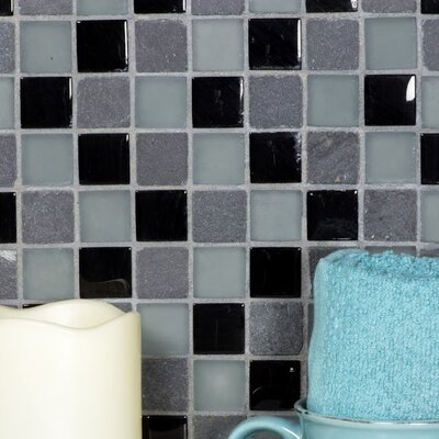 Mineral 1 x 1 Glass and Slate Mosaic Tile in Gray/Black