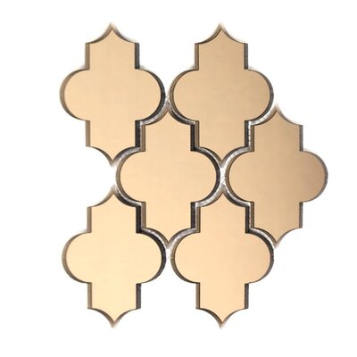 Echo Small Lantern Backsplash 4 x 5.5 Glass Mosaic Tile in Gold