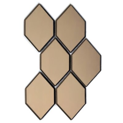 Echo Honeycomb Backsplash 3.5 x 5.125 Mirror Glass Mosaic Tile in Gold