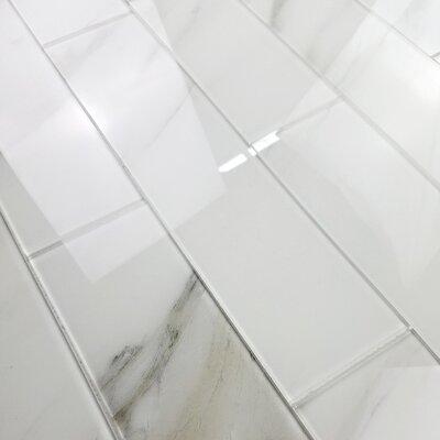 Nature 4 x 16 Glass Subway Tile in Calacatta White/Gray Veins