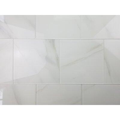 Nature 8 x 8 Glass Subway Tile in Calacatta White/Gray Veins