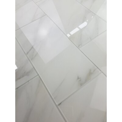 Nature 8 x 16 Glass Subway Tile in Calacatta White/Gray Veins