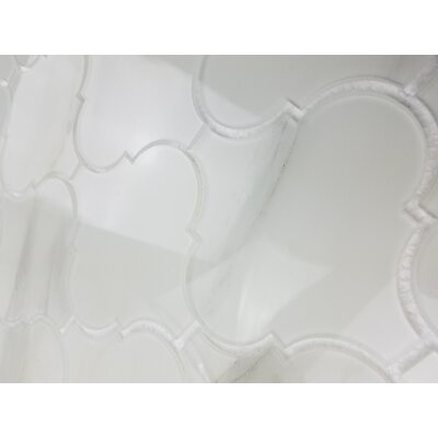 Nature Big Latern 5.63 x 5.63 Glass Patterned Tile in Calacatta White/Gray Veins