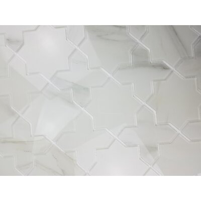 Nature Celestial 6 x 6 Glass Patterned Tile in Calacatta White/Gray Veins