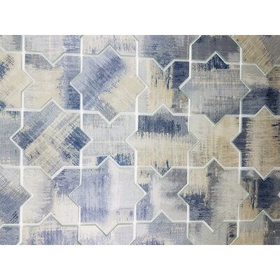 Nature Celestial 6 x 6 Glass Patterned  Tile in Cement Blue/Tan