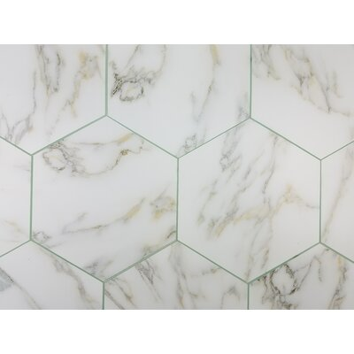 Nature 8 x 8 Glass Hexagon Tile in Calacatta Gold/Gray Veins