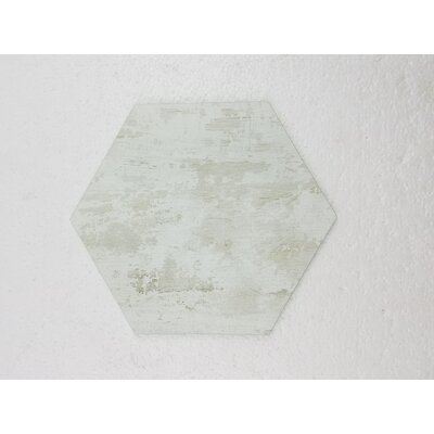 Nature 8 x 8 Glass Hexagon Tile in Birchwood White/Creme