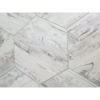 Nature 8 x 8 Glass Hexagon Tile in Birchwood Gray/Creme