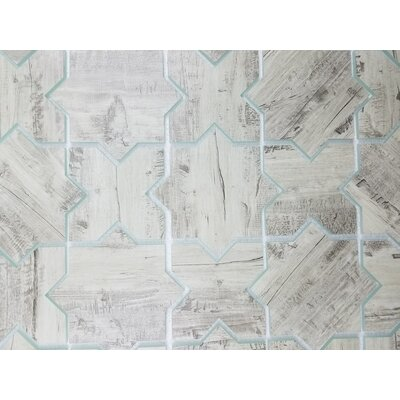 Nature Celestial 6 x 6 Glass Patterned Tile in Birchwood Gray/Tan