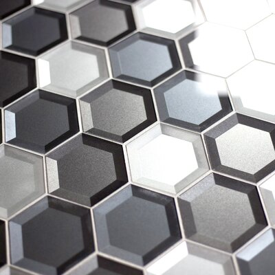 Secret Dimensions 3 x 3 Glass Mosaic Tile in Cool Gray