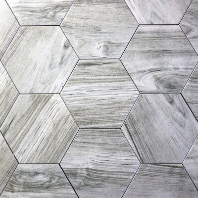 Artisan Wood Hexagon 8 x 8 Ceramic Wood Look Tile in Gray