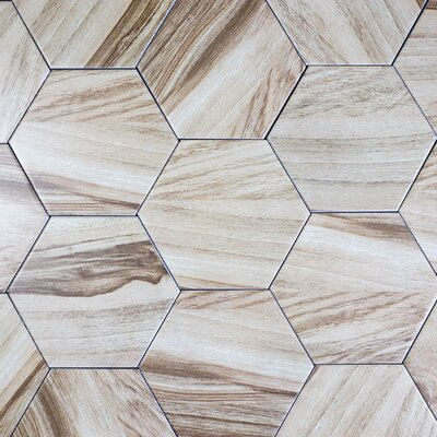 Artisan Wood Hexagon 8 x 8 Ceramic Wood Look Tile in Tan