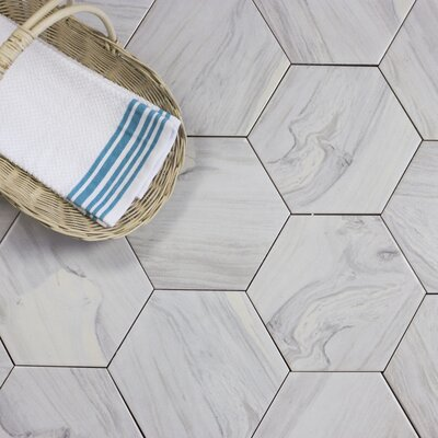 Artisan Wood Hexagon 8 x 8 Ceramic Wood Look Tile in White