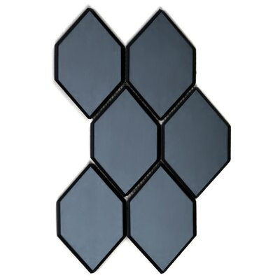 Echo Honeycomb Backsplash 3.5 x 5.125 Glass Mosaic Tile in Graphite