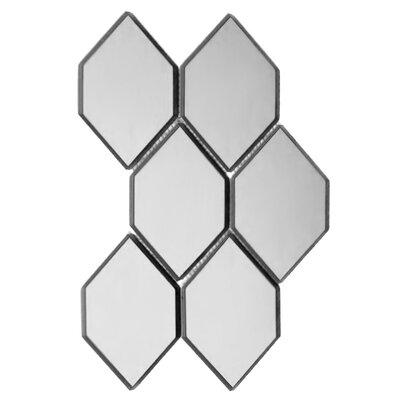 Echo Honeycomb Backsplash 3.5 x 5.125 Glass Mosaic Tile in Silver