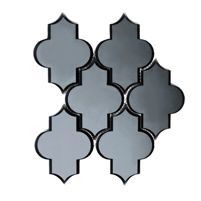 Echo Small Lantern Backsplash 4 x 5.5 Mirror Glass Mosaic Tile in Graphite