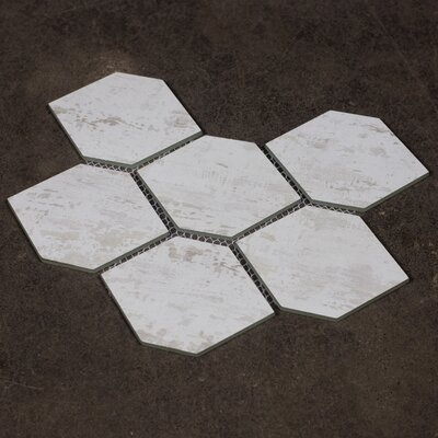 Nature Honeycomb 3.5 x 5.13 Glass Subway Tile in White/Gray