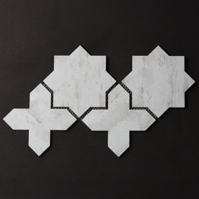 Nature Celestial 6 x 6 Glass Patterned Tile in Gray/Tan