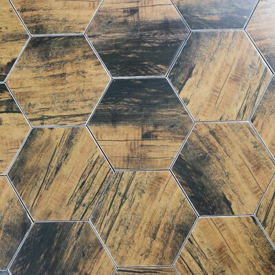 Artisan Wood Hexagon 8 x 8 Ceramic Wood Look Tile in Brown
