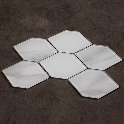Nature Honeycomb 3.5 x 5.13 Glass Subway Tile in Calacatta White/White