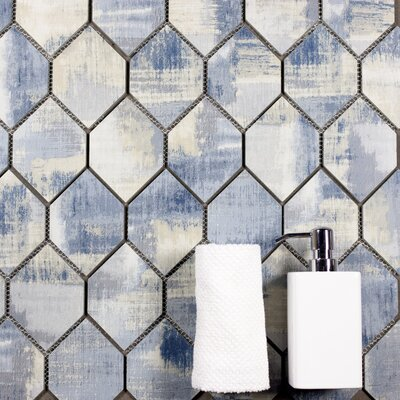Nature Honeycomb 3.5 x 5.13 Glass Mosaic Tile in Cement Blue/Gray