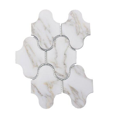 Nature Swag 3.5 x 5.13 Glass Subway Tile in Calacatta Gold/Gray Veins