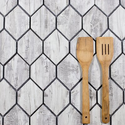 Nature Honeycomb 3.5 x 5.13 Glass Subway Tile in Birchwood Gray/Tan