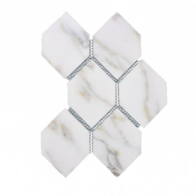 Nature Honeycomb 3.5 x 5.13 Glass Subway Tile in White/Gray Veins