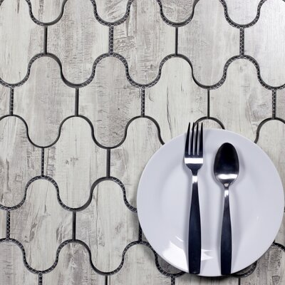 Nature Swag 3.5 x 5.13 Glass Patterned Tile in Birchwood Gray/Tan