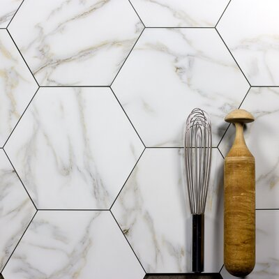 Nature 8 x 8 Glass Hexagon Tile in Calacatta Gold/Gray Veins