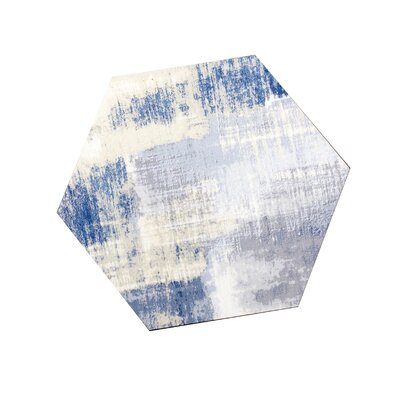 Nature 8 x 8 Glass Hexagon Tile in Cement Blue/Gray